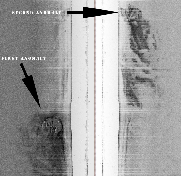 The sidescan sonar shows the main anomlay (left) and the second anomaly which has yet to be explored.