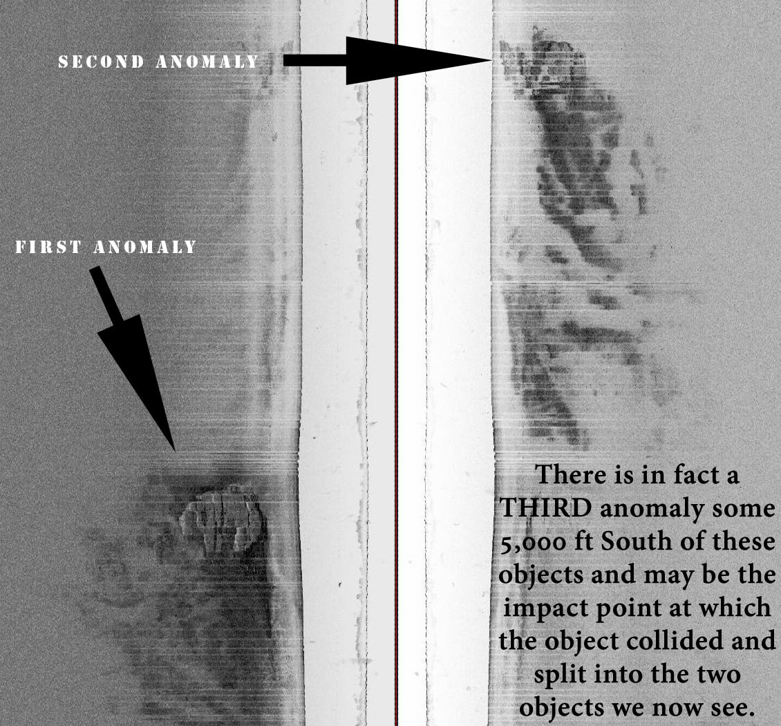 Top arrow points to as yet uninvestigated second anomaly - the focus of this trip.
