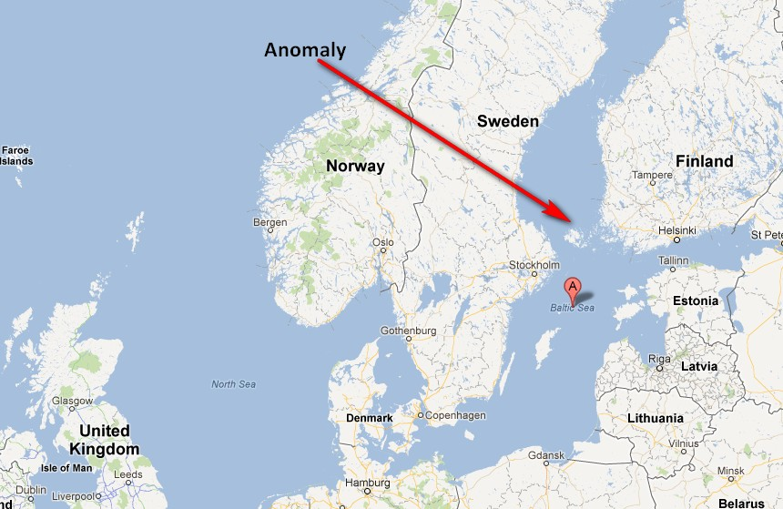Approximate location of the anomaly based on the anecdotal evidence so far.