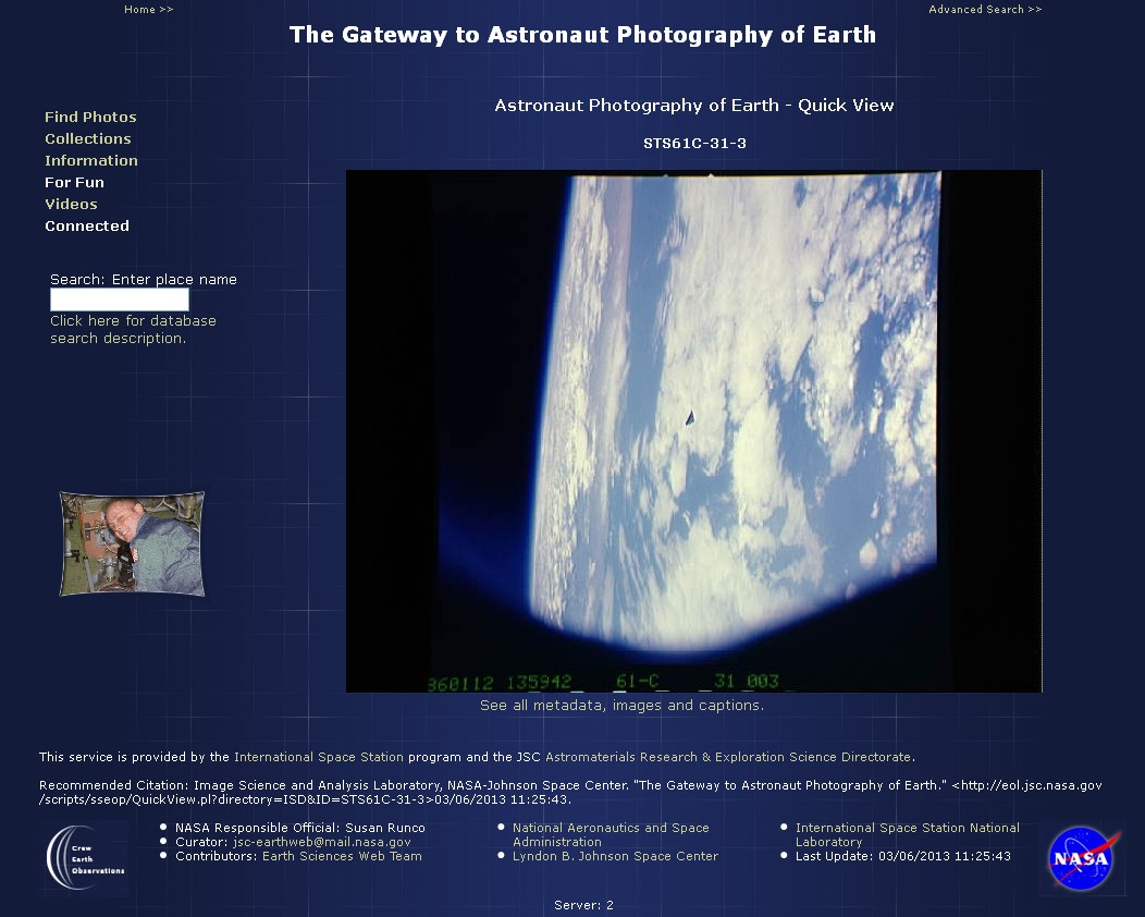 A screen capture of NASA's website showing the massive black triangle in plain site.