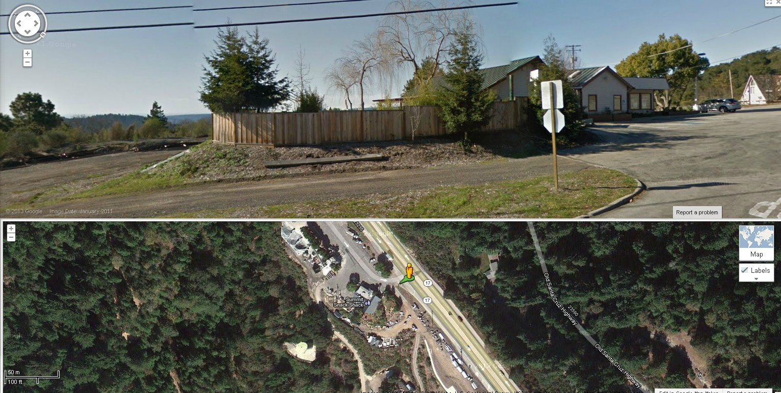 Streetview and aerial shot of location.