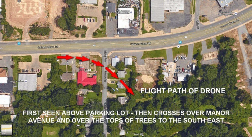 Aerial View of the Drone's path as it crosses the parking lot on Colonel Glenn Road, then across Manor Avenue and finally disappears over the tops of the trees to the south east.
