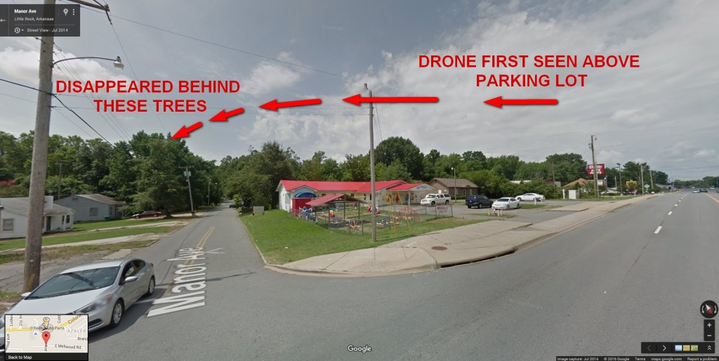 Drone first seen moving above parking lot - then glided over Manor Avenue and disappeared over the tops of the trees to the south east.