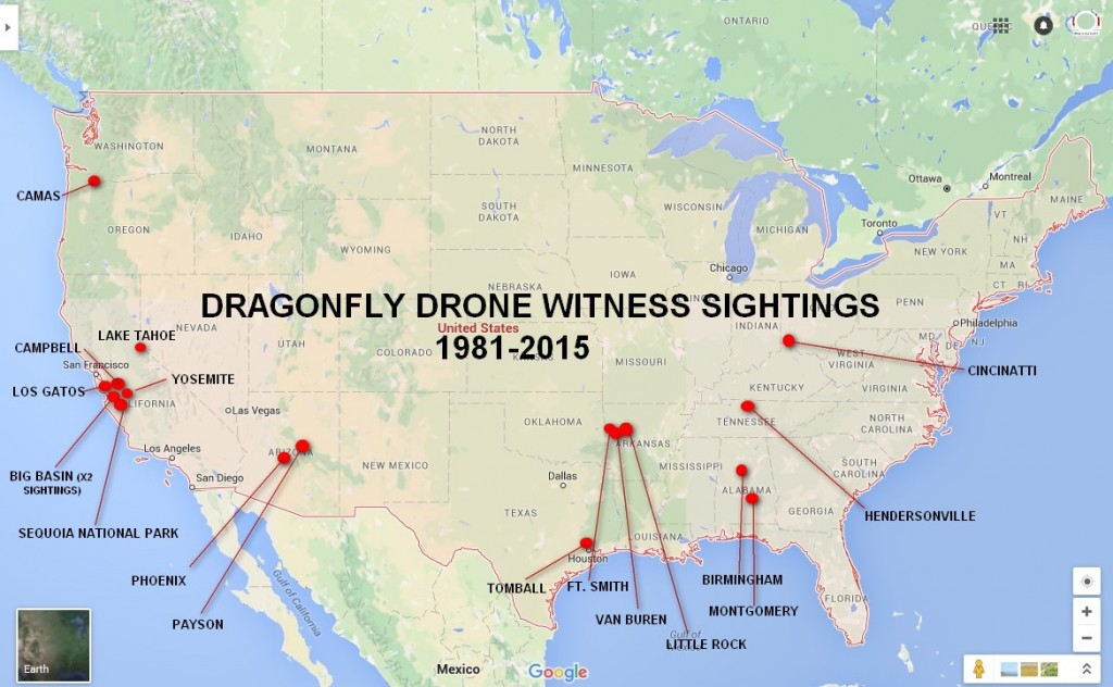 A map of continental United States showing the Dragonfly Drone sightings from 1981 to 2015